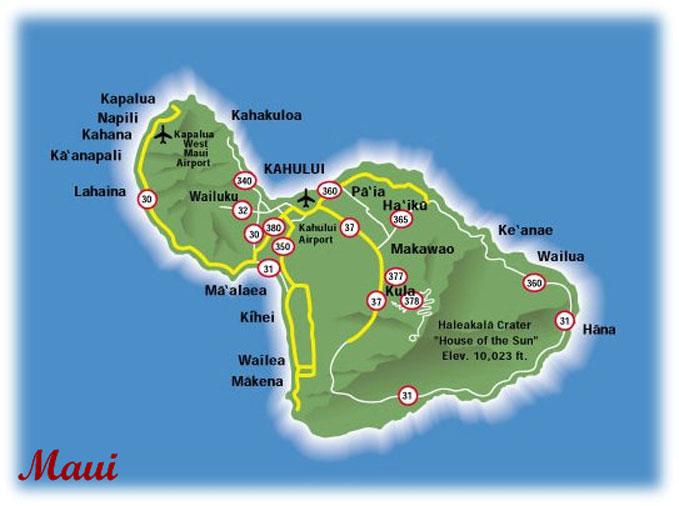 Hawaiian honeymoons maui overview activities photos map maui map click to view large map sciox Gallery